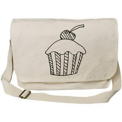 'Cherry Cupcake' Cotton Canvas Messenger Bags (MS014483) • 14.99£
