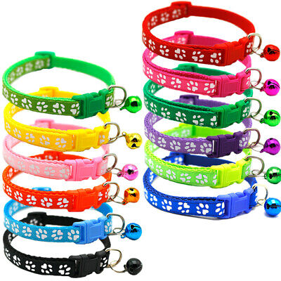 Kitten Puppy Cat Colourful Nylon Adjustable Collar Cute Paw Print Bell Pet Tie • 2.99£