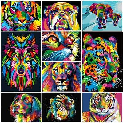 DIY Oil Acrylic Painting Kit Paint By Numbers Adult Children Frameless Animals • 6.86£