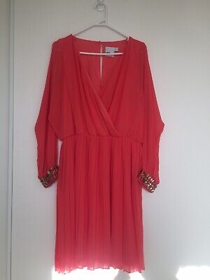 AU50 • Buy ASOS Curve Coral Long Sleeve Above Knee/Mini Beaded Dress Size 18 UK/ 46 EU/ 14