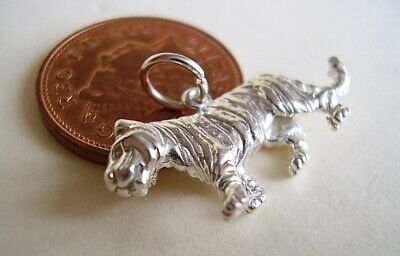 Sterling Silver 3D  TIGER Charm  Charms   Which Weighs 3.5g.. • 10.99£