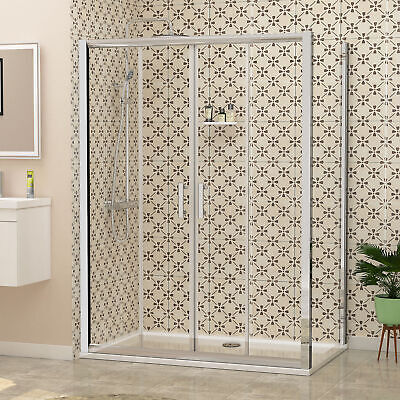 Double Sliding Shower Enclosure And Shower Tray Side Panel 6mm Glass Cubicle • 171.89£