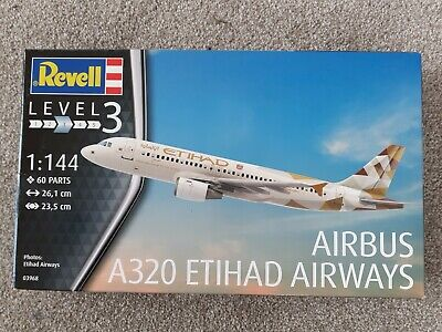 Revell 1/144 Scale A320 Airbus Etihad Airways Plastic Model Kit SKU 03968 • 12£