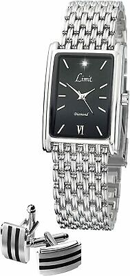 Limit Men's Watch With Black Dial, Silver Bracelet And Cufflinks  Special Dad  • 12.99£