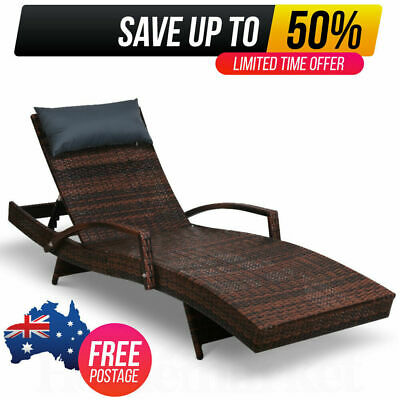 AU183.95 • Buy Outdoor Sun Lounger Furniture Lounge Setting Rattan Wicker Day Bed Garden Patio