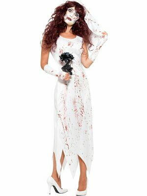 SMIFFYS Womens Zombie Bride White Bloody Scary Horror Halloween Costume LARGE • 12.99£