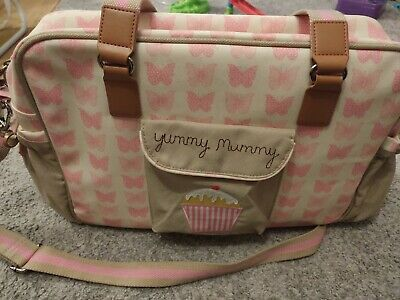 Yummy Mummy Changing Bag * Pink Butterflies * Pink Lining *GREAT CONDITION* • 17£