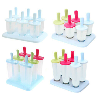 Ice Cream Mold 6 Cells Plastic Popsicle Mold Kids DIY Ice Lolly Candy Maker • 3.84£