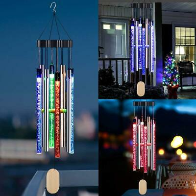 Solar Powered Colour Changing LED Hanging Wind Chime Glass Tube Lights Decor • 14.99£