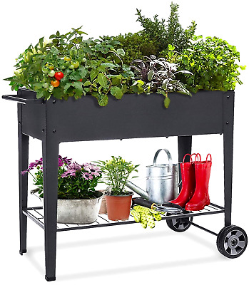 Raised Planter Box With Legs Outdoor Elevated Garden Bed On Wheels Cart Decor • 76.24£