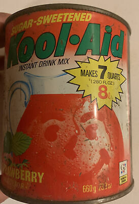 Kool Aid Vintage Tin Can 23oz Strawberry Drink Mix Advertising Beverage Empty • 21.45£
