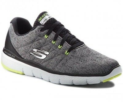 Skechers 52957 / Gybk Grey Black Grey Men's Shoes Sport Memory Foam 3.0 Stally • 60.25£