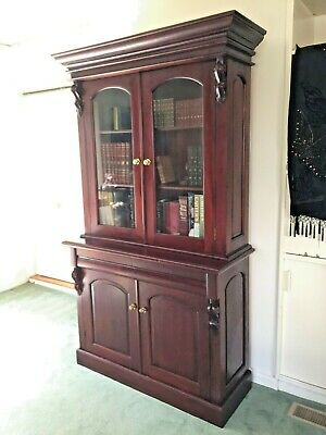 AU775 • Buy Antique Victorian Style Mahogany Bookcase / Display Cabinet!