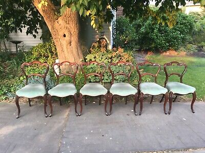 AU450 • Buy Set Of 6 Beautiful Antique Victorian Rosewood Dining Chairs!