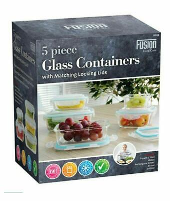 £22.99 • Buy 5PC Glass Storage Containers Boxes Kitchen Food With Lids Rice Pasta Lunch Box