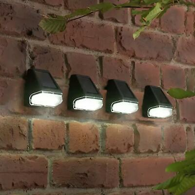 4 X Solar Powered Led Garden Fence Lights Wall Step Outdoor Waterproof Lighting • 14.99£