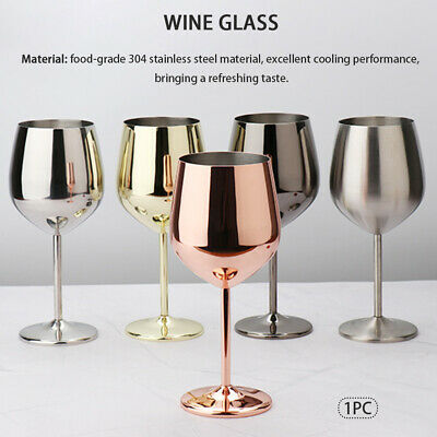 Wine Glasses Champagne Cocktail Drinking Cup Kitchen Stainless Steel Goblet • 11.19£