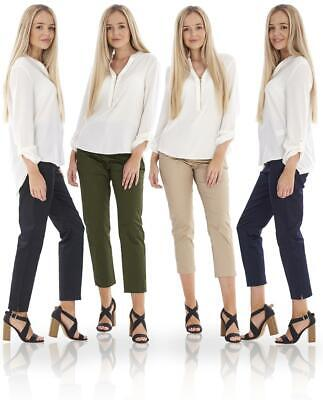 £12.99 • Buy Ladies 7/8 Crop Trousers Stretch Womens Cotton Cropped Tapered Slim Fit Trousers