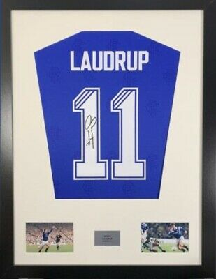 Signed Brian Laudrup Glasgow Rangers Shirt In Large Professional Frame • 149£