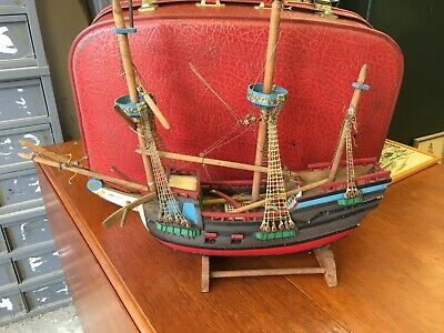 Authentic Large Old Ship Model Wooden Sailing Galleon Hand Made Painted Vintage  • 42£