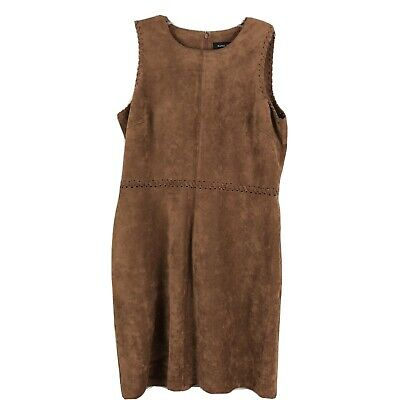 $ CDN28.47 • Buy Ivanka Trump Womens Dress Sheath Sleeveless Round Neck Faux Suede Brown Size 12