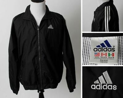 $ CDN50.80 • Buy Adidas Windbreaker Jacket Black White Men's Large L Classic Trefoil Spellout