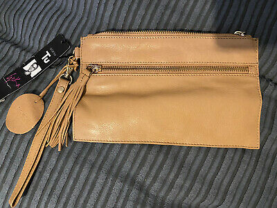 Leather Tan Brown Small Clutch Bag With Strap New With Tags • 19£