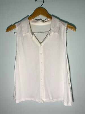AU4.99 • Buy Vintage White Sleeveless Blouse Top Button Up Collared - Size 8 / Size S