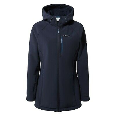 Craghoppers Women's Ara Fleece Lined Long Softshell Hooded Jacket Black CWL090 • 59.99£