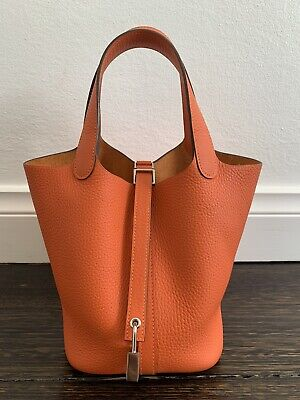 AU3700 • Buy Authentic Hermes Picotin 18 Feu Taurillon Clemence Leather Silver Hardware