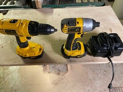 $90 • Buy Dewalt 18 Volt, 1/2 Inch Drill, 18 Volt Impact Driver, With 2 Batteries And Char