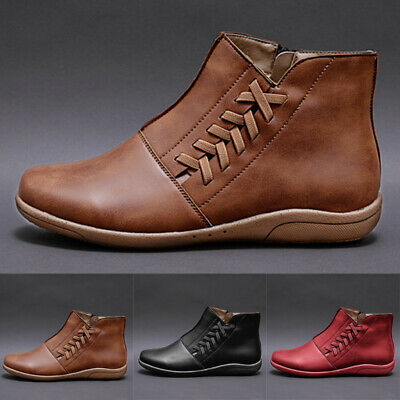 Women Winter Arch Support Flat Ankle Boots Ladies Side Zip Wedge Heel Shoes Size • 10.39£