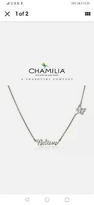 £34.99 • Buy Genuine CHAMILIA 925 Silver Disney TINKERBELL BELIEVE NECKLACE RRP £75