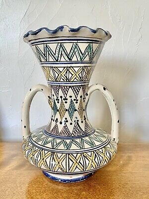 £70.79 • Buy Beautifully SIGNED Scalloped Double Handled SAFI Moroccan Pottery Vase 10