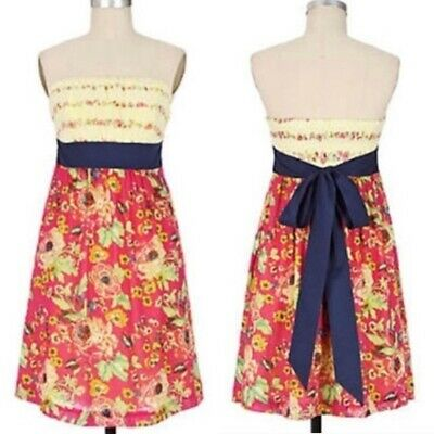 $ CDN79 • Buy Anthropologie Maeve Blissful Days Strapless Dress Ribbon Tie Size 4 Yellow Pink