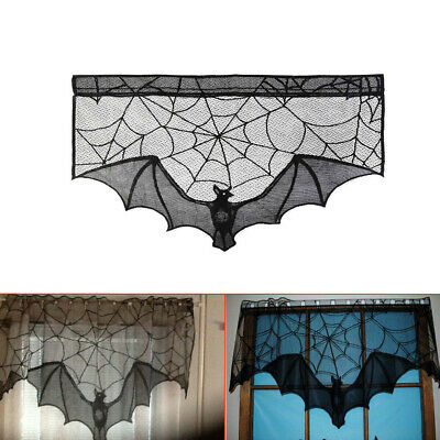 $ CDN5.64 • Buy Black Lace Bat Halloween Props Party Window Curtains Scary Indoor Decorations