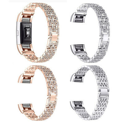 AU10.31 • Buy Replacement For Fitbit Charge 2 3 4 Watch Bracelet Strap Bling Metal Wrist Band