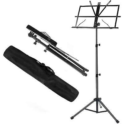 Metal Adjustable Sheet Music Stand Holder Folding Foldable With Carry Case Bag! • 6.99£