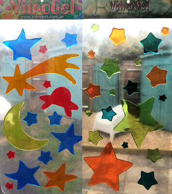 Vitrogel Stars And Alien Spaceship Moon Reusable Gel Window Clings Stickers  • 4.73£