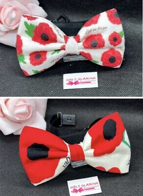 Poppy Bow Tie Necktie Neck Dickie Bobbles Remembrance Day Lest We Forget • 6.99£
