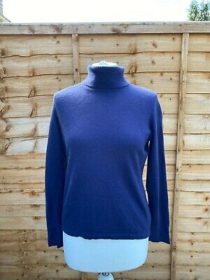 N Peal Purple 100% Cashmere Roll Neck Jumper Size XS Long Sleeved Pullover Knit • 43.99£