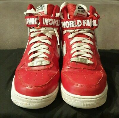 AU75 • Buy Nike Air Force 1 High  Supreme World Famouse Red  Size Mens US 8.5