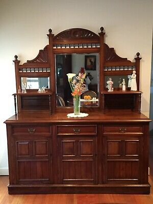 AU750 • Buy Beautiful Antique Edwardian Walnut Mirrored Sideboard!