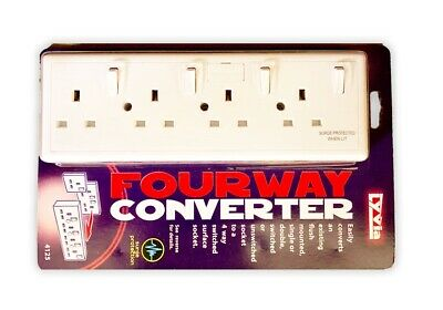 Converter Socket Converts 1 Or 2 Gang To 4 Gang With Surge Protection & Fused  • 13.80£