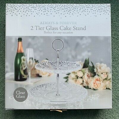 BRAND NEW BOXED! Two Tier Glass Cake Stand ALWAYS & FOREVER • 9.99£