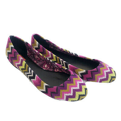 £21.82 • Buy Missoni For Target Womens Size 9.5 Multi-Color Zig Zag Flats Slip Ons Shoes