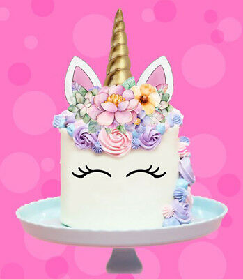 AU11.40 • Buy 🌟 Unicorn Gold Horn Ears Flowers Edible Stand Up Cake Topper Image Decoration