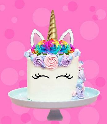 AU11.40 • Buy Rainbow Unicorn Gold Horn Flowers Edible Stand Up Cake Topper Image Decoration