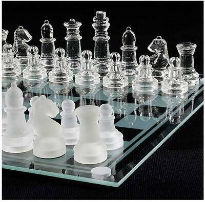 £17.99 • Buy New Glass Board Traditional Chess Set Game Unique Beautiful Gift 32 Pc Fun Party