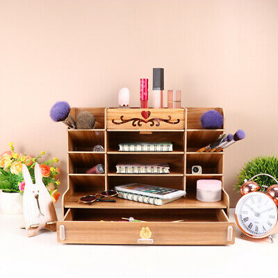Wooden Desktop Storage Box Pen Holder Drawers Compartments Rack Stationery Box • 9.08£